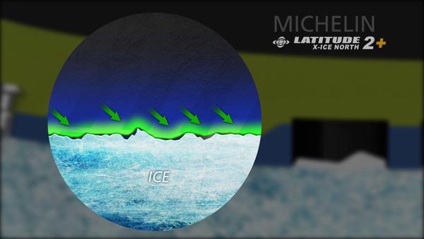 Работа резиновой смеси в шине Michelin Latitude X-Ice North 2+